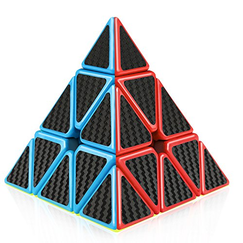 D-FantiX Pyramid Cube, Carbon Fiber Pyramid Speed Cube 3x3 Triangle Cube Puzzle