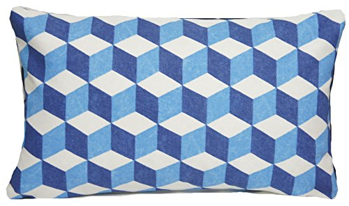 (Indigo Blue & Beige Pillow Throw Case Geometric Design Cushion Cover Osborne and Little Fabric Balyan 50 x 30cm )