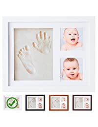 Baby Handprint Kit by Little Hippo! SPECIAL NO MOLD VERSION! Baby Picture Frame (WHITE) & Non Toxic CLAY! Baby Footprint kit, best baby shower gifts! Newborn Baby Boy gifts, and Baby Girls Gifts! BOBEBE Online Baby Store From New York to Miami and Los Angeles