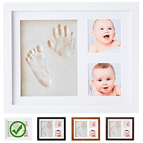 Baby Handprint Kit by Little Hippo! SPECIAL NO MOLD VERSION! Baby Picture Frame (WHITE) & Non Toxic CLAY! Baby Footprint kit, best baby shower gifts! Newborn Baby Boy gifts, and Baby Girls - Satin Covered Card Box