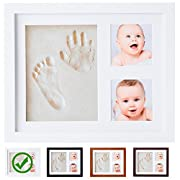 Baby Handprint Kit by Little Hippo |NO MOLD| Clay Picture Frame | Baby Shower Gifts, Baby Registry Must Haves and Keepsakes | Perfect Frames for Infant and Newborn Footprint and Handprint (White)