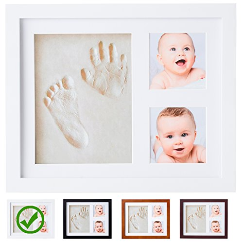 Baby Handprint Kit by Little Hippo! SPECIAL NO MOLD VERSION! Baby Picture Frame (WHITE) & Non Toxic CLAY! Baby Footprint kit, best baby shower gifts! Newborn Baby Boy gifts, and (Baby Shower Decor Kits)