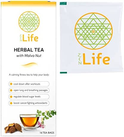 ZenLife Premium Organic Green Tea Blend - Infused with Malva Nut & Japanese Honeysuckle - Mint Flavored | 16 Pack