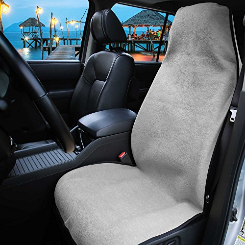 FH Group FH1006 Multifunctional Beach, Fitness Towel Car Seat Cover, Gray Color- Fit Most Car, Truck, SUV, or Van