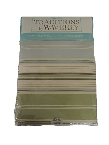Traditions By Waverly Vinyl Flannel Back Tablecloth Stripe (70 Round)