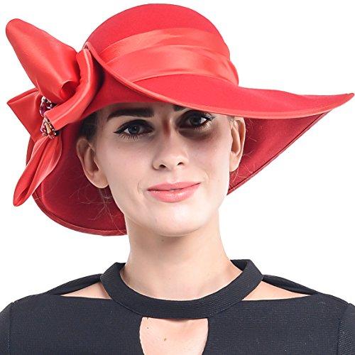 Women Wool Felt Plume Kentucky Derby Church Dress Wide Brim Winter Hat (Z0013-Red)
