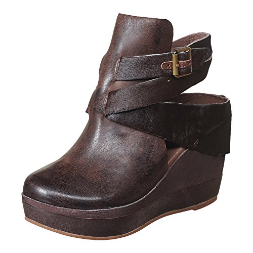 Antelope Women's 957 Coffee Leather Hi Wedge Buckle Wrap 41