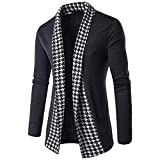 Faionny Mens Jacket Slim Fit Coat Long Sleeve Patchwork Blouse Winter Autumn Outwear