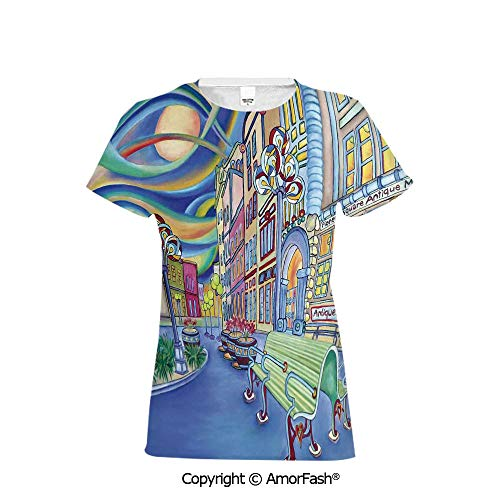 (PUTIEN Girls Short-Sleeve Midweight T-Shirt,Polyester,Abstract Home Decor,Seattle Downt)
