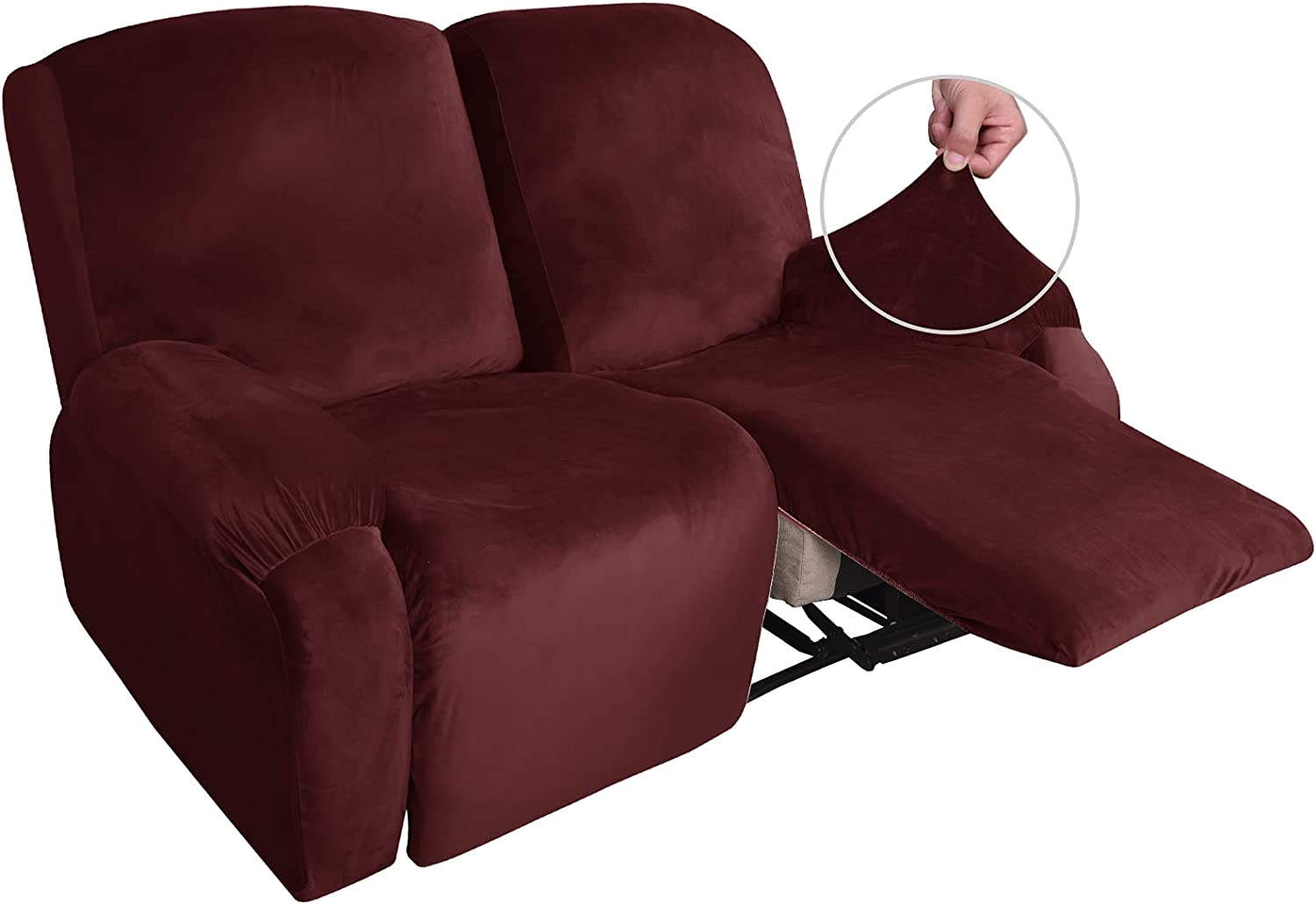 MAXIJIN Recliner Loveseat Slipcover, 6 Pieces Stretch Velvet Reclining Sofa Cover, 2 Seater Love Seat Recliner Couch Cover, Thick, Soft, Washable Furniture Cover (Loveseat Recliner, Wine Red)