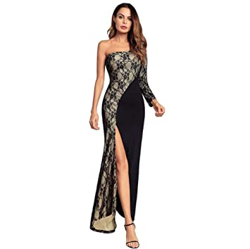 Onfly Women One Shoulder Tube Top Long Sleeve Slit Mermaid Prom Dress Maxi Dress Sexy Lace