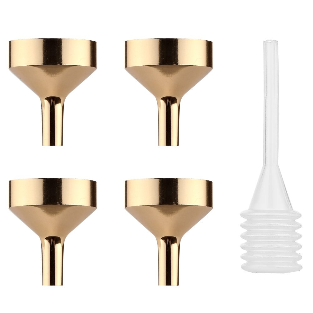 4 Pcs Metal Mini Funnel with Pipette   Small Tiny Perfume Funnel for Transfer Liquid Bottle - Cosmetic Sample Essential Oil/Lotion / Cologne/Mascara / Atomizer/Fragrance (Glod)