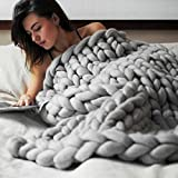 Chunky Knit Blanket Handwoven Wool Blend Yarn Knitting Throw Bed Sofa Super Warm Home Decor 40''x79'' (100x200 CM, Gray)