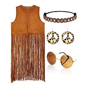 4 Piece Women Hippie Costume Set Fringe Vest Faux Seude Tassels Vest