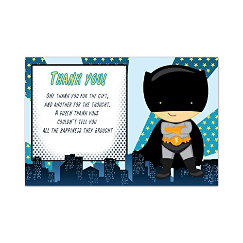 30 Thank You Card Notes Superhero Baby Shower Sprinkle Boy Birthday Cards Photo Paper ()
