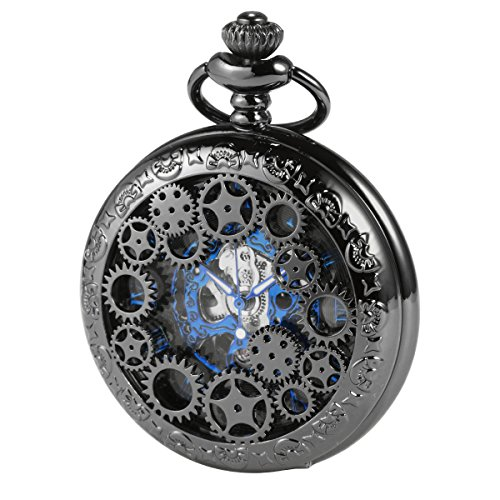 ManChDa Steampunk Skeleton Automatic Mechanical Pocket Watch Black Blue Ruman Numerals Hollow Case Chain