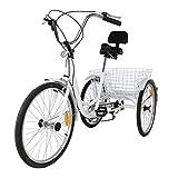Iglobalbuy White 24-Inch 6-Speed Adult Tricycle Trike 3-Wheel Bike Cruise Bike with Basket