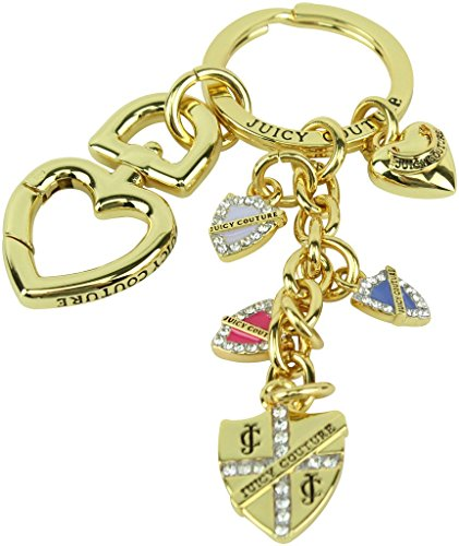 Juicy Couture Pave Shield Heart & Charms Key Fob Key Ring, Gold