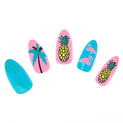 Claires - Juego de uñas tropicales para niña, color azul ...