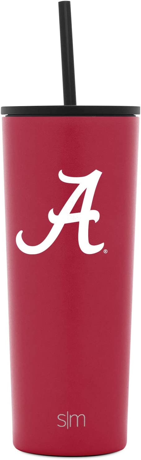 Coffee Travel Tumbler Stainless Steel NCAA Alabama Crimson Tide Simple Modern University of Alabama 24oz Classic Tumbler with Flip and Straw Lid Gifts for Men Women Dad Fathers Day