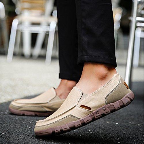 tela di Fluores Sneakers Estate traspirante Loafers Scarpe Khaki Mens da On Espadrillas uomo Casual Slip ST1REwq