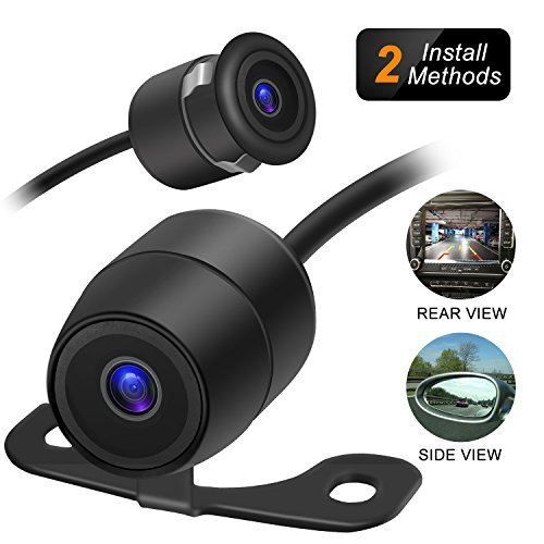 Amoner Mini Backup Camera - 170° Viewing Angle Universal Car Rear View / Side View, 2 in 1 Installation Option, Fit for most 12-V Vehicles
