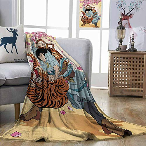 Homrkey Cozy Blanket Japanese Brave Samurai and Tiger Clash Turn into Floral Sakura Cherry Blossoms Cartoon Print Charisma Blanket W60 xL80 Multi ()