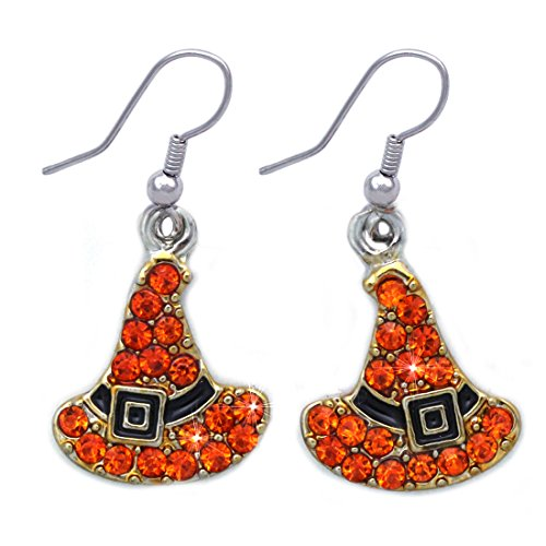 [cocojewelry Witch Wizard Hat Earrings Halloween Costume Jewelry (Orange Dangle)] (Dangle Halloween Costume)