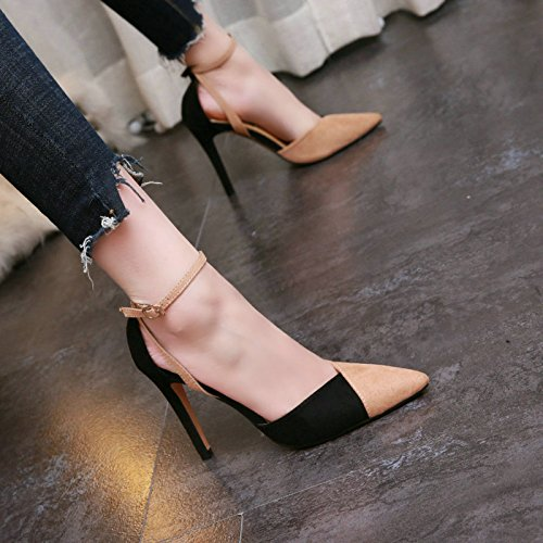Shallow Fashion High Apricot Lady Work Elegant Pointed Mouth Shoe Leisure Heels Wind With 10Cm Hollow Spring Fine MDRW Suede Color 34 Ladies gU87xwqTq