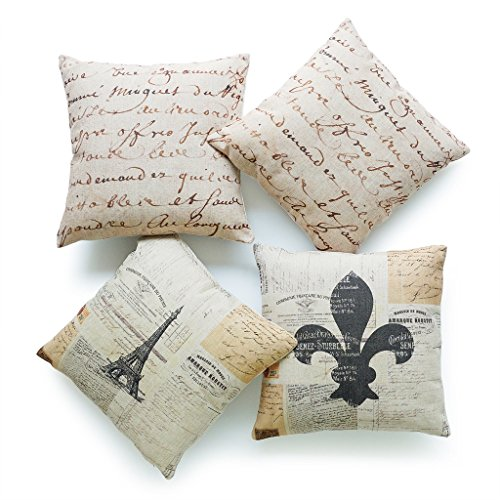 Hofdeco Set of 4Pcs Decorative Throw Pillow Cases Vintage French Country Paris Eiffel Tower Fleur de Lis Ephemera 1700s Script Parchment HEAVY WEIGHT FABRIC Cushion Covers 18x18 Inches