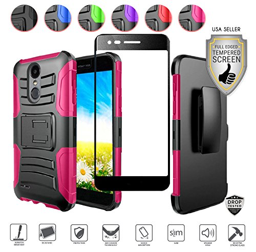 LG Fortune 2 Case, Aristo 2 Case, Zone 4 Case, Risio 3 Case, Rebel 3 Case, Tribute Dynasty Case, with Tempered Screen Protector, Holster Clip Heavy Duty [Kickstand] Shockproof (Black/Hot Pink)