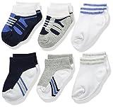 Luvable Friends Baby Basic Socks, 6 Pack, Blue