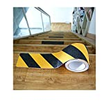 4 Inches Black and Yellow Non Skid Safety Tape, Hight Traction Anti Slip Safety Tape, Indoor or Outdoor Applicable,Indoor or Outdoor Applicable