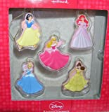 Disney Princess Set of 5 Holiday Christmas Ornaments - Ariel Aurora Cinderella Belle and Snow White