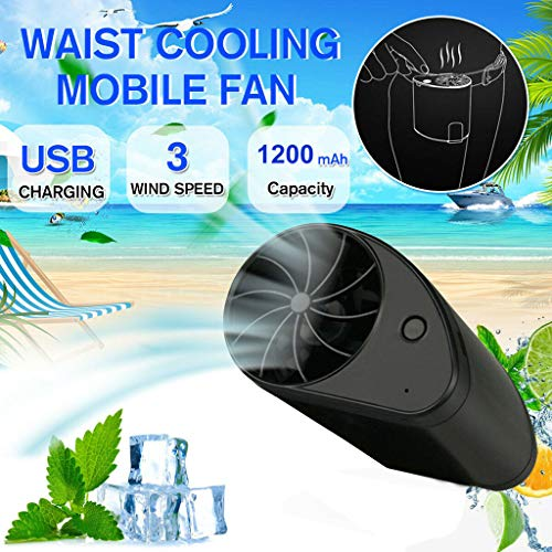 Iulove Mini Portable Waist Fan USB Rechargeable Cool Air Hand Held Travel Blower Cooler