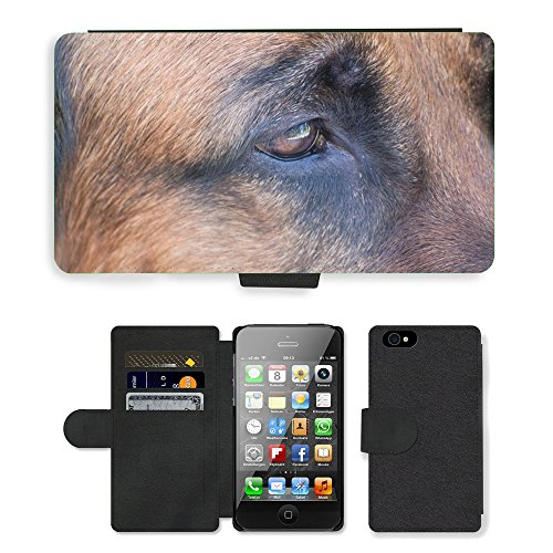 Just Phone Cases PU Leather Flip Custodia Protettiva Case Cover per // M00127975 Dog Dog Schäfer Vue Yeux // Apple iPhone 4 4S 4G