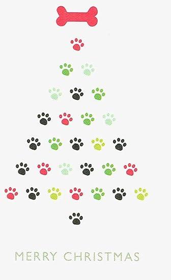 Christmas Cards To Print.Amazon Com Paw Print Tree Christmas Cards Paw Prints And