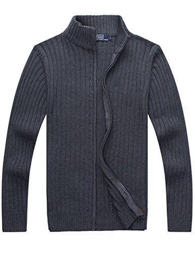 (Yeokou Men's Casual Autumn Stand Collar Full Zip Up Knitted Cardigan Sweater (Medium, Dark Grey))