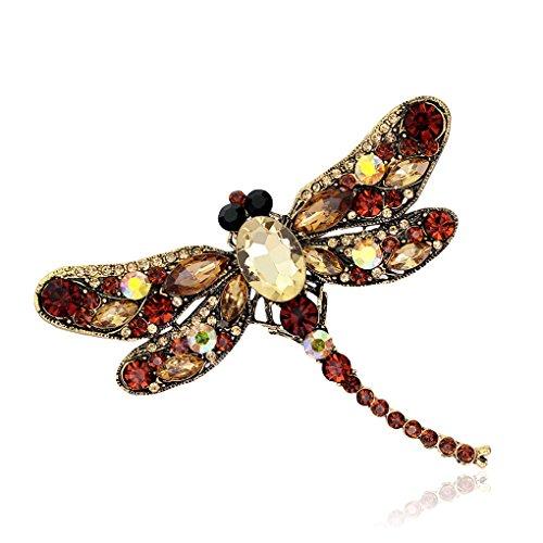 MuLuo Rhinestone Dragonfly Brooch Pin Animal Brooch Women Dress Scarf Brooch Pins Brown