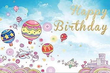 Amazon Com Yeele 9x6ft Happy Birthday Photography Background Cartoon Animation Anime Aircraft Hot Air Balloon Rainbow Photo Backdrops Pictures Adult Artistic Portrait Photoshoot Props Camera Photo