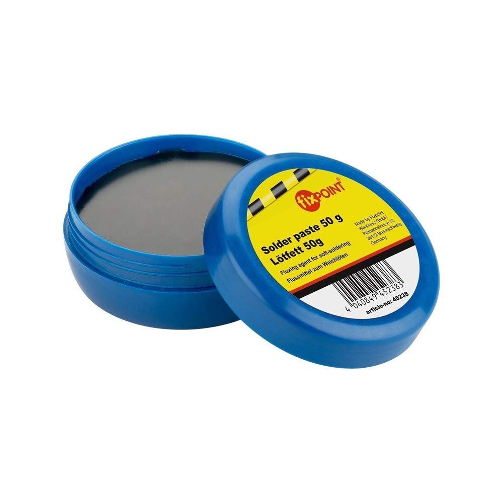 Fixpoint 45238 Pasta per saldare / Lattina di grasso per saldatura SMD come fondente per la saldatura dolce per saldare componenti montabili in superficie, 50g