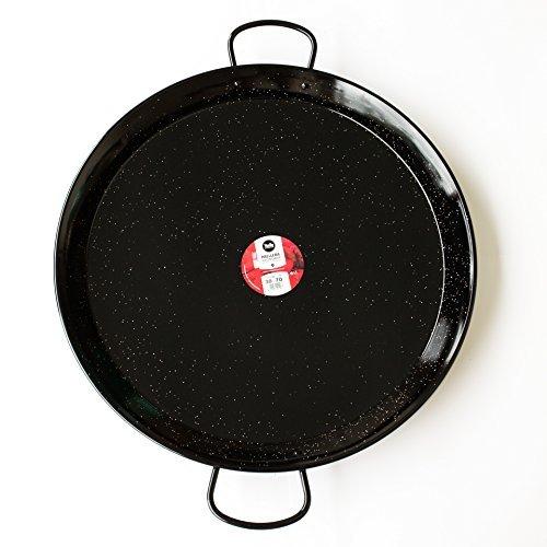 Enamelled Steel Valencian paella pan. 28Inch / 70cm /30 Servings by Vaello Campos