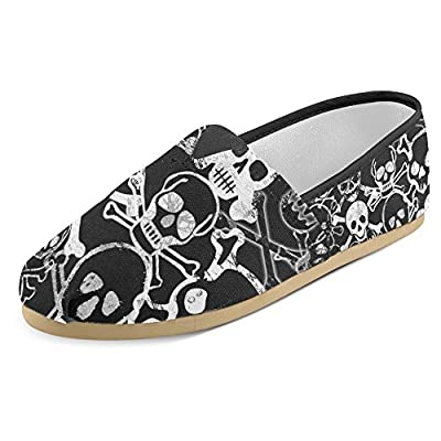 InterestPrint Women's Loafers Classic Casual Canvas Slip On Fashion Shoes Sneakers Flats Skull Crossbones