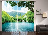 Ambesonne Cottage Decor Collection, Lake in Deep Forest Fed by Several Waterfalls in Summer Picture Print, Living Room Bedroom Curtain 2 Panels Set, 108 X 84 Inches, Blue Pale Green White Review