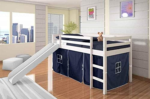 DONCO KIDS Mission Low Slide Loft Bed White Twin Blue Tent
