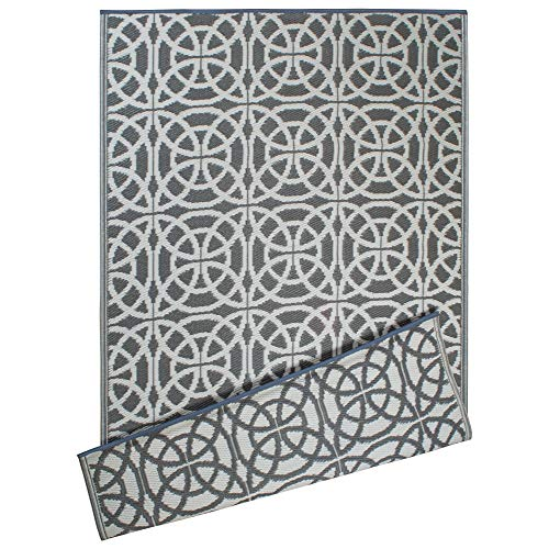 DII Contemporary Indoor/Outdoor Lightweight Reversible Fade Resistant Area Rug, Great For Patio, Deck, Backyard, Picnic, Beach, Camping, & BBQ, 4 x 6', Gray Infinity Circle (Rugs For Outside Decks)