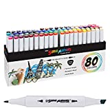 Super Markers 80 Color Permanent Ink Sketch Markers Primary Tones Dual Tips,