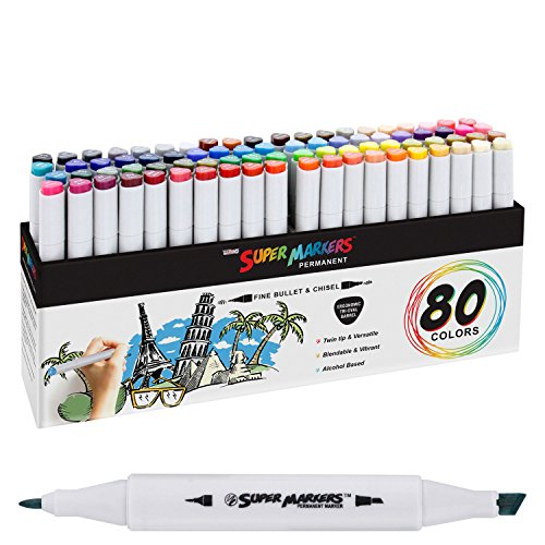 80 Color Super Markers Primary & Secondary Tones Dual Tip Set - Double-Ended Permanent Art Markers with Fine Bullet & Chisel Point Tips - Ergonomic Tri-Oval Barrels - Draw, Sketch, Illustrate, Manga