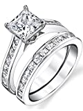 Sterling Silver Princess Cut Bridal Set Engagement Wedding Ring Bands With Cubic Zirconia Size 7.5
