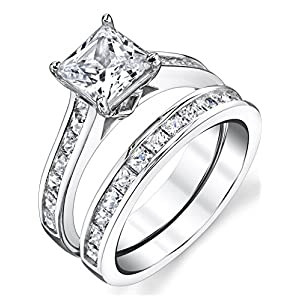 1.5 Carats Sterling Silver Cubic Zirconia Bridal Set Engagement Wedding Ring Bands Princess Cut